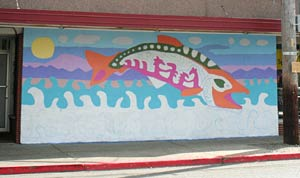 Incomplete salmon mural in Proctor
