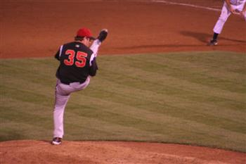 Beavers' #35 high kick pitcher
